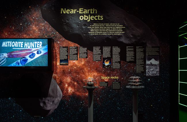 A near-earth objects display inside Space Place Wellington New Zealand.