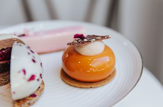 Fine patisserie on a white plate.