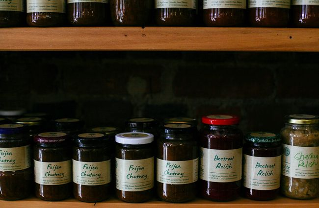 Close up of chutneys.