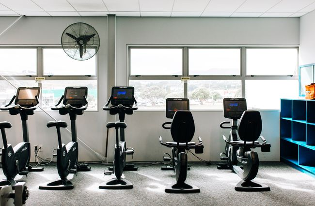 Row of exercise machines.
