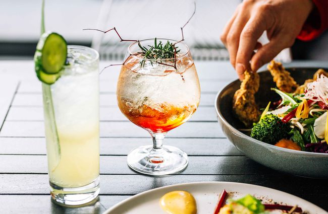 Cocktails and fried chicken.