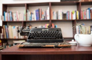 Old fashioned black typewriter.