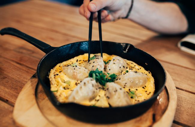 Dumplings in a pan.