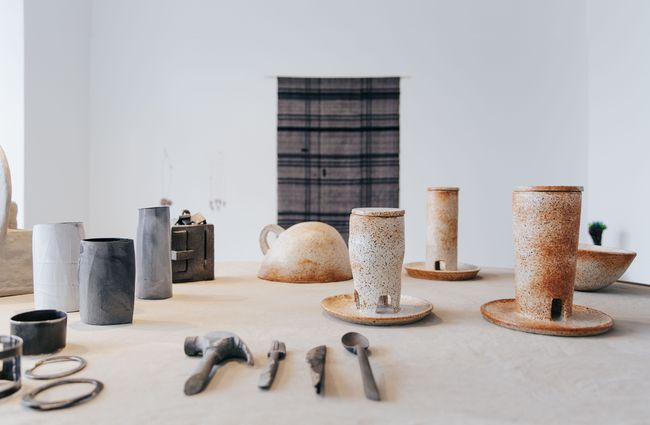 A table of ceramics.