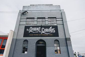 The exterior of the Quaint and the Curious antiques shop building in Sydenham Christchurch.