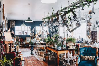 Inside the Quaint and the Curious antiques shop in Sydenham Christchurch.