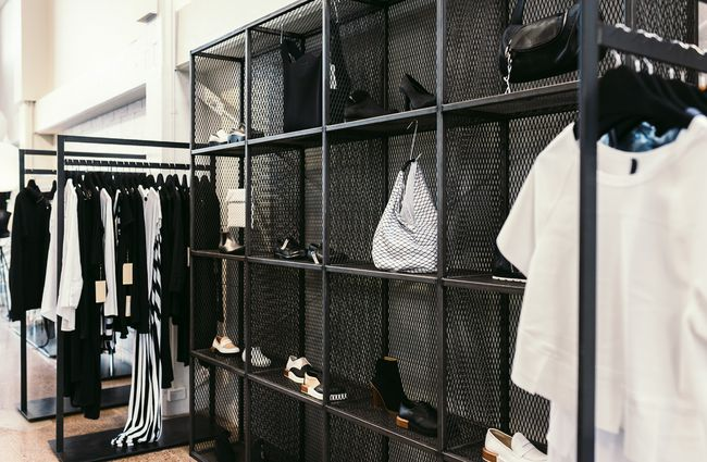 Black shelving.