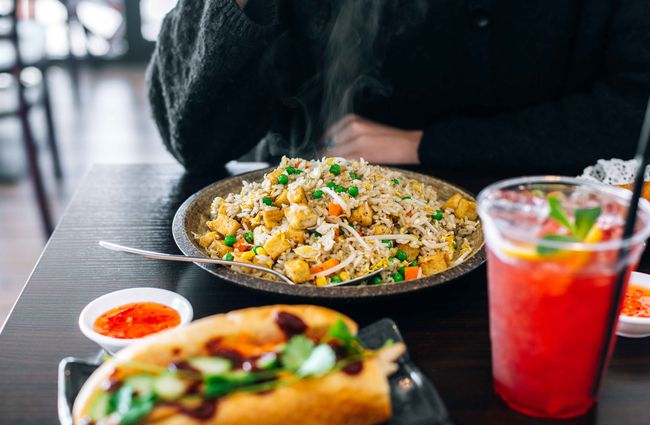 Fried rice on a plate.
