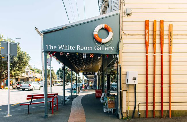 The White Room gallery exterior with oars and a life buoy.