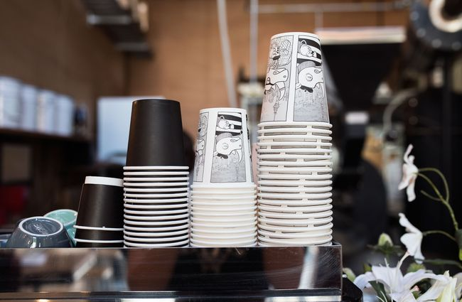 Black and white printed coffee cups.