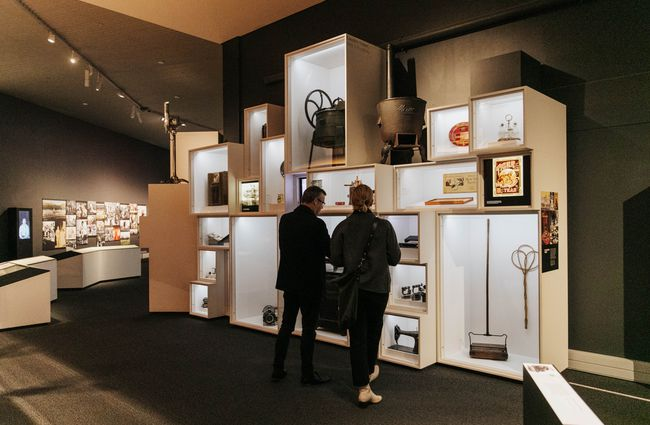 Two people browsing the exhibtion.