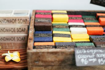 Close up of handmade soaps.