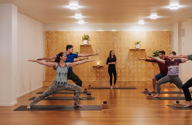 A yoga class doing warrior's pose.