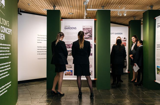 Visitors take in the displays at Waikato Museum, Hamilton.