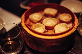 Dumplings on a table.