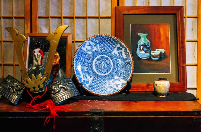 Japanese plates and bowls on display.