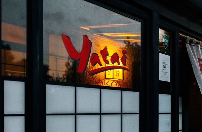 Close up of the Yatai sign on a window.