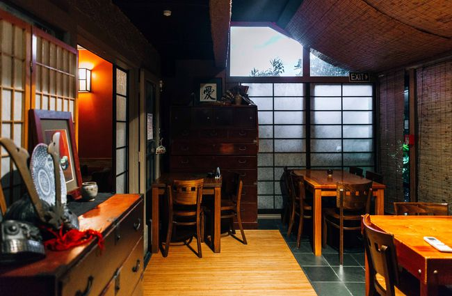 A seating area inside Yatai restaurant.