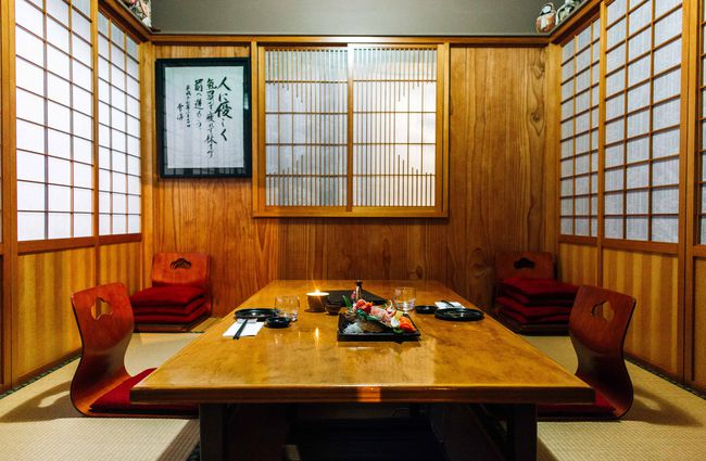 A seating area inside Yatai Japanese restaurant.