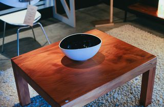 A bowl on a table.