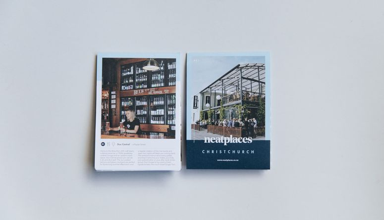 A photo of the latest Neat Places Christchurch pocket guide.