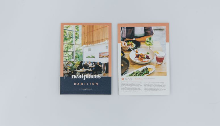A photo of the latest Neat Places Hamilton pocket guide.